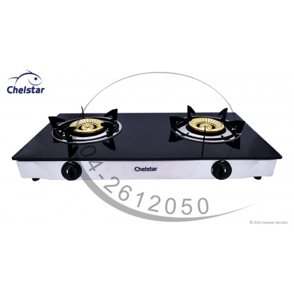 Chelstar Double Burner Glass Table Top Stove / Gas Cooker CGT-328K (Sparkling)