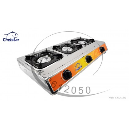 Chelstar Stainless Steel Three Burner Table Top Stove / Gas Cooker (CGC-311K)