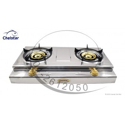 Chelstar Stainless Steel Double Burner Table Top Stove / Gas Cooker (X-198J)