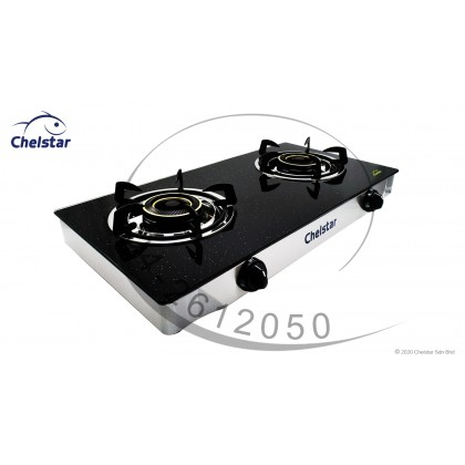 Chelstar Double Burner Glass Table Top Stove / Gas Cooker (CGT-388K)