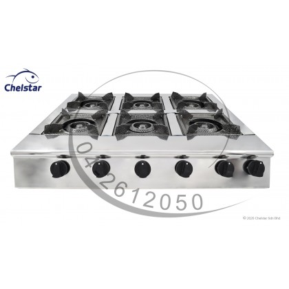 Chelstar Stainless Steel Six Burner Table Top Stove / Gas Cooker (CGC-611)