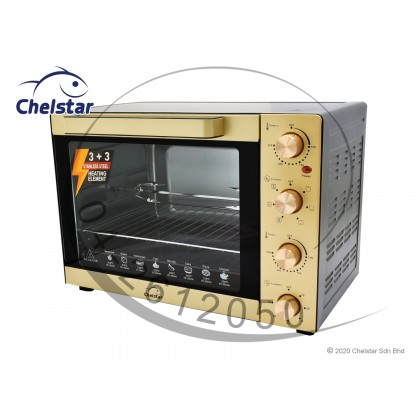 Chelstar 60L Electric Oven + Separate Upper Lower Temperature Control 3+3 Heating Element + 6 Cooking Function (CEO-60A)