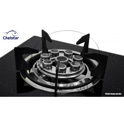 Chelstar Double Burner Glass Table Top Stove / Gas Cooker (CGT-358K)