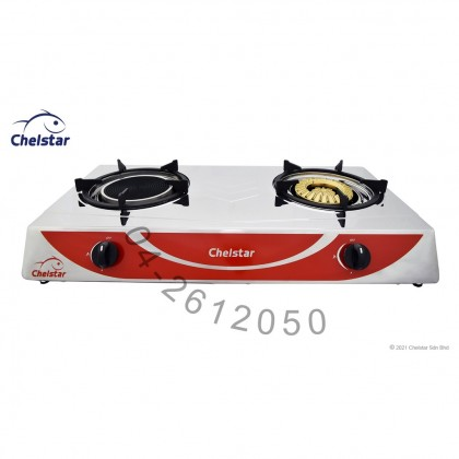 Chelstar Stainless Steel Double Burner Table Top Stove / Gas Cooker (CGC-389K)