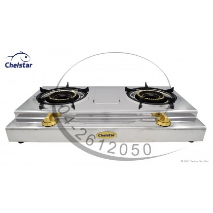 Chelstar Stainless Steel Double Burner Table Top Stove / Gas Cooker (X-128J)