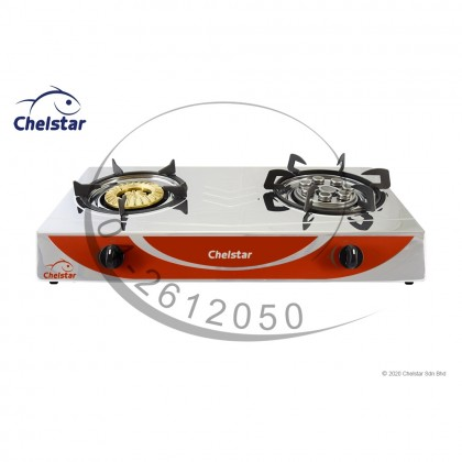 Chelstar Stainless Steel Double Burner Table Top Stove / Gas Cooker (CGC-789K)